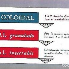 Coleccionismo Papel secante: PAPEL SECANTE. CALCIO COLOIDAL. LEVUCAL GRANULADO E INYECTABLE. PRODUCTOS LETI. Lote 77307817