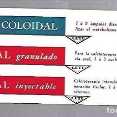 Coleccionismo Papel secante: PAPEL SECANTE. CALCIO COLOIDAL. LEVUCAL GRANULADO E INYECTABLE. PRODUCTOS LETI. Lote 77307885
