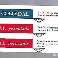 Coleccionismo Papel secante: PAPEL SECANTE. CALCIO COLOIDAL. LEVUCAL GRANULADO E INYECTABLE. PRODUCTOS LETI. Lote 77307949