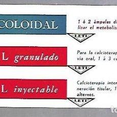 Coleccionismo Papel secante: PAPEL SECANTE. CALCIO COLOIDAL. LEVUCAL GRANULADO E INYECTABLE. PRODUCTOS LETI. Lote 77309061