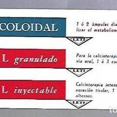 Coleccionismo Papel secante: PAPEL SECANTE. CALCIO COLOIDAL. LEVUCAL GRANULADO E INYECTABLE. PRODUCTOS LETI. Lote 77309065