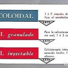 Coleccionismo Papel secante: PAPEL SECANTE. CALCIO COLOIDAL. LEVUCAL GRANULADO E INYECTABLE. PRODUCTOS LETI. Lote 77309089