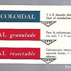 Coleccionismo Papel secante: PAPEL SECANTE. CALCIO COLOIDAL. LEVUCAL GRANULADO E INYECTABLE. PRODUCTOS LETI. Lote 77309105