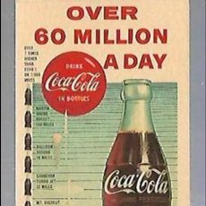 Coleccionismo Papel secante: PAPEL SECANTE. COCA COLA. OVER 60 MILLIAN A DAY. 1960. Lote 77312209