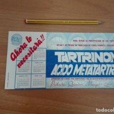Coleccionismo Papel secante: PAPEL SECANTE ANTIGUO TARTRINON ACIDO METATARTRICO PRODUCTOS QUIMICOS MONGAT PART CALENDARIO DE 1961. Lote 85285644