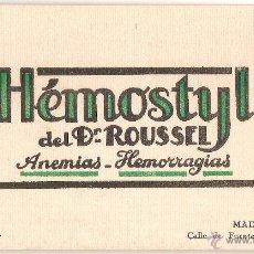 Coleccionismo Papel secante: PAPEL SECANTE - HÉMOSTYL DEL DR. ROUSSEL - PARIS - MADRID. Lote 87460988