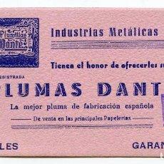 Coleccionismo Papel secante: PAPELERÍA MAOÑO, SANTANDER. PLUMAS DANTE. PAPEL SECANTE 15,8X8 CM. NUEVO. Lote 92712920