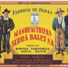 Coleccionismo Papel secante: PAPEL SECANTE FABRICA DE PANAS MANUFACTURAS SERRA BALET . Lote 94575715