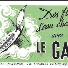 Coleccionismo Papel secante: SECANTE * LE GAZ * ( BUVARD ). Lote 95832987