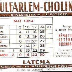 Coleccionismo Papel secante: SECANTE AÑO 1954 * SULFARLEM CHOLINE * ( BUVARD ). Lote 95833291