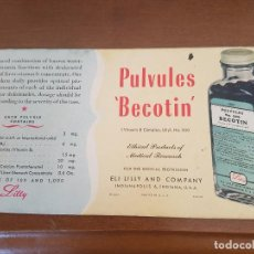 Coleccionismo Papel secante: CUBA PAPEL SECANTE BECOTIN LILLY USA. Lote 96005835