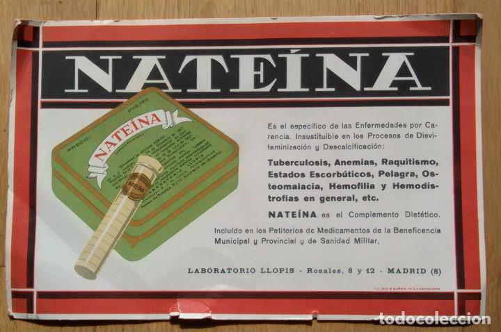 MEDICAMENTO NATEINA - LABORATORIOS LLOPIS (Coleccionismo - Papel Secante)