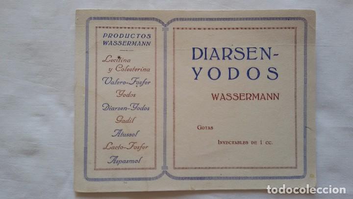 PAPEL SECANTE DIARSEN -YODOS WASSERMANN GOTAS INYECTABLES DE 1 CC Y OTROS PRODUCTOS WASSERMANN - (Coleccionismo - Papel Secante)