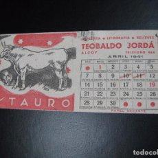 Coleccionismo Papel secante: PAPEL SECANTE DE IMPRENTA TEOBALDO JORDÁ, ALCOY , ABRIL 1941. Lote 97160367