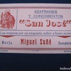 Coleccionismo Papel secante: PAPEL SECANTE DE AZAFRANES Y CONDIMENTOS SAN JOSÉ, BORJA, ZARAGOZA.. Lote 97630575