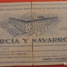 Coleccionismo Papel secante: ANTIGUO PAPEL SECANTE PUBLICITARIO.GARCIA Y NAVARRO S.L.FABRICA CALZADO.PETREL.ALICANTE. Lote 98168195