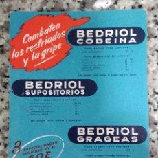 Coleccionismo Papel secante: LOTE DE 2 HOJAS DE PAPEL SECANTE.BEDRIOL Y CODEFILONA. Lote 98513407