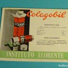 Coleccionismo Papel secante: PAPEL SECANTE. PUBLICIDAD COLAGOBIL DE LABORATORIOS INSTITUTO LLORENTE. Lote 103616375