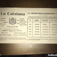 Coleccionismo Papel secante: ANTIGUA PUBLICIDAD PAPEL SECANTE LA CATALANA SEGUROS 1910. Lote 104075023