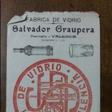 Coleccionismo Papel secante: PAPEL SECANTE FABRICA DE VIDRIO SALVADOR GRAUPERA. PATRAIX VALENCIA. ALMANAQUE 1919. Lote 107734815