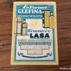 Coleccionismo Papel secante: PAPEL SECANTE GLEFINA CALENDARIO 1930. LABORATORIOS ANDROMACO. Lote 109340751