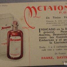 Coleccionismo Papel secante: ANTIGUO PAPEL SECANTE PUBLICITARIO.METATONE.TONICO.PARKE,DAVIS & CO. . Lote 111824327