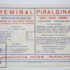 Coleccionismo Papel secante: PAPEL SECANTE PUBLICITARIO - LABORATORIOS HOMS, BARCELONA. REMINAL / PIRALGINA. Lote 112597435