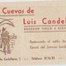 Coleccionismo Papel secante: TARJETA PUBLICIDAD LAS CUEVAS LUIS CANDELAS CUCHILLEROS MADRID ANTIGUA. Lote 113144695