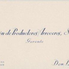 Coleccionismo Papel secante: ANTIGUA TARJETA DE VISITA UNION DE PRODUCTORES ARROCEROS . Lote 113144771