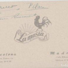 Collezionismo Carta assorbente: ANTIGUA TARJETA PUBLICITARIA DE VISITA LA MASIA. Lote 113144843