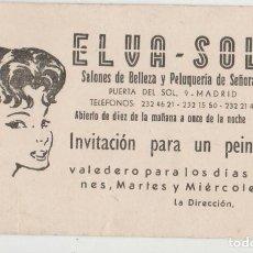 Coleccionismo Papel secante: ANTIGUA TARJETA DE VISITA PUBLICIDAD PELUQUERIA. Lote 113144899