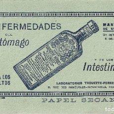 Coleccionismo Papel secante: PAPEL SECANTE CON PUBLICIDAD DE FARMACIA - ELIXIR PARA ENFERMEDADES DEL ESTÓMAGO. Lote 115069455