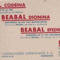 Coleccionismo Papel secante: PAPEL SECANTE CON PUBLICIDAD DE FARMACIA - BEABAL CODEINA- ESPECÍFICO DE LA TOS. . Lote 115069771