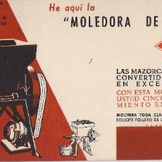 Coleccionismo Papel secante: SECANTE : MOLEDORA DE FORRAJES - ZAGA - EGUREN , EIBAR . Lote 115070255