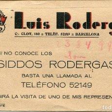 Coleccionismo Papel secante: SECANTE USADO-BARCELONA-CALLE CLOT Nº 140- LUIS RODERGAS- FÁBRICA DE TEJIDOS.-USADO-. Lote 115397139