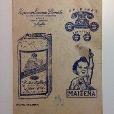 Coleccionismo Papel secante: PAPEL SECANTE. REPRESENTACIONES LLORENTE. MAIZENA. AVILÉS. Lote 115510283