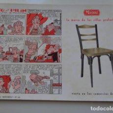 Coleccionismo Papel secante: VALENCIA. SECANTE PUBLICIDAD. MUEBLES MOCHOLÍ. SILLAS. 1962. VIÑETAS PITO Y PILÍN.. Lote 120986167