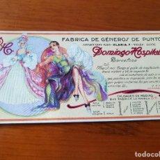 Coleccionismo Papel secante: ANTIGUO PAPEL SECANTE PUBLICIDAD FABRICA GENEROS DE PUNTO DOMINGO HOSPITAL BARCELONA MEDIAS MERCERIA. Lote 122133323