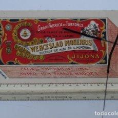 Coleccionismo Papel secante: SECANTE PUBLICIDAD WENCESLAO MONERRIS FABRICA DE TURRONES JIJONA ALICANTE CIRCA 1900 DECORACION. Lote 122466719