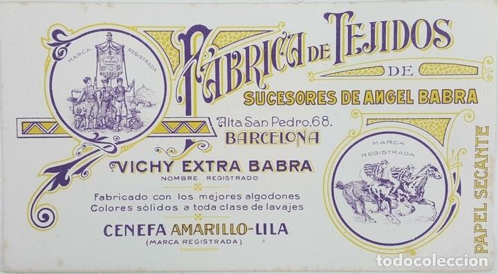 Coleccionismo Papel secante: COLECCIÓN DE 12 HOJAS DE PAPEL SECANTE. FABRICA DE TEJIDOS ANGEL BABRA. SIGLO XX. - Foto 2 - 123490503