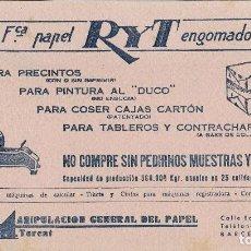 Coleccionismo Papel secante: PAPEL SECANTE FABRICA PAPEL RYT ENGOMADO - BARCELONA - (22X12,3). Lote 124223331