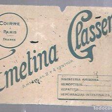 Coleccionismo Papel secante: PAPEL SECANTE. AMPOLLAS. EMETINA CLASSER. FRANCIA. 16 X 12CM. Lote 125054651
