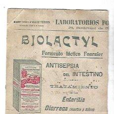 Coleccionismo Papel secante: PAPEL SECANTE. FERMENTO LACTICO FOURNIER. BIOLACTYL. 15 X 25CM. Lote 125055339