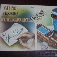Coleccionismo Papel secante: MEDICINA / PAPEL SECANTE - CALCIO FOSFORO ACEITE DE HIGADO DE BACALAO DR. CALION - . Lote 125895459