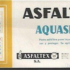 Coleccionismo Papel secante: SECANTE * ASFALTEX AQUASEAL * AÑO 1961. Lote 126797071