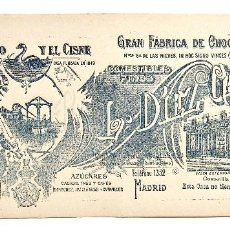 Coleccionismo Papel secante: SECANTE PUBLICIDAD GRAN FÁBRICA DE CHOCOLATES EL MOLINO Y EL CISNE L. DÍEZ GALLO (SECANTES) MADRID. Lote 127873939