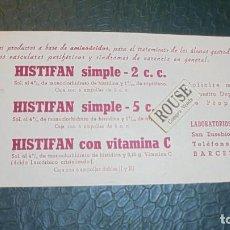 Coleccionismo Papel secante: MEDICINA / BARCELONA - PAPEL SECANTE - HISTIFAN SIMPLE , LABORT. ''GALUP'' S,A, BARCELONA . Lote 128005299