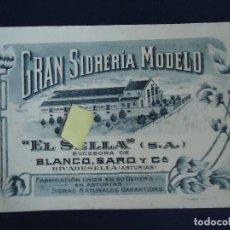 Coleccionismo Papel secante: PUBLICIDAD VINTAGE SECANTE SIDRERIA MODELO SIDRA BLANCO SARO EL SELLA RIBADESELLA ASTURIAS RIBESEYA. Lote 128853155