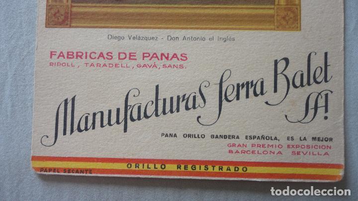 Coleccionismo Papel secante: ANTIGUO PAPEL SECANTE.MANUFACTURAS SERRA BALET S.A FABRICA DE PANAS. - Foto 2 - 130520590