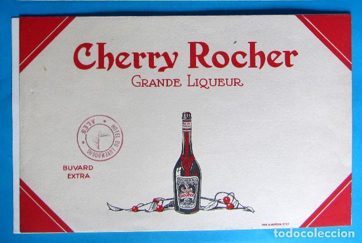 PAPEL SECANTE. CHERRY ROCHER. GRANDE LIQUEUR. TAMPÓN DE HOTEL DU LUXEMBURG. (Coleccionismo - Papel Secante)